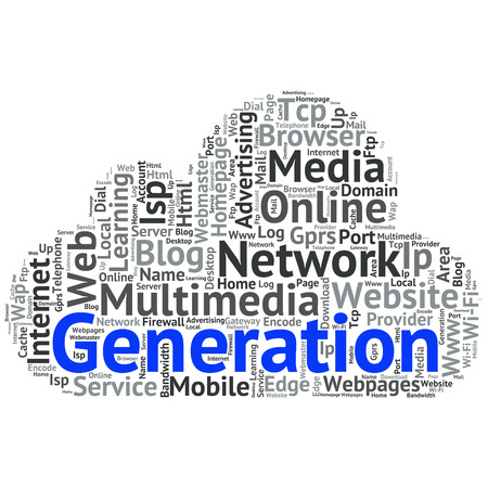4g: Concept or conceptual abstract word cloud   as metaphor for internet, network, Website Illustration