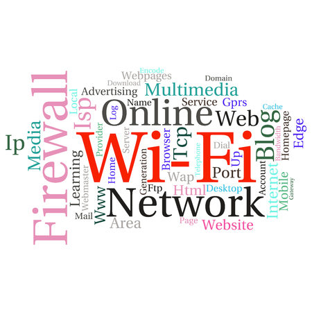 isp: Concept or conceptual abstract word cloud   as metaphor for internet, network, Website Illustration