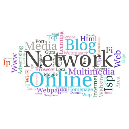 cache: Concept or conceptual abstract word cloud   as metaphor for internet, network, Website Illustration