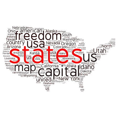 capital of colorado: USA state map tag cloud vector illustration Illustration