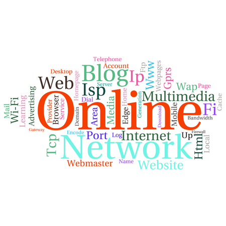 Concept or conceptual abstract word cloud   as metaphor for internet, network, Website Illustration