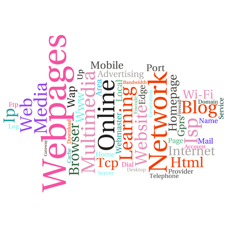 webmaster: Concept or conceptual abstract word cloud   as metaphor for internet, network, Website Illustration