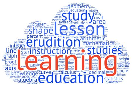 Shapes and vocabulary, math tag word cloud background
