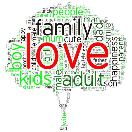 가족 정보 텍스트 그래픽 및 배치 개념 (단어 구름) 일러스트