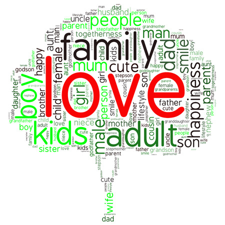 Family info-text graphics and arrangement concept (word cloud)