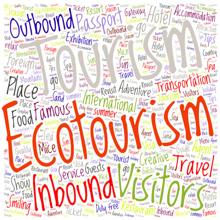 text word: conceptual colorful travel or tourism text word Illustration