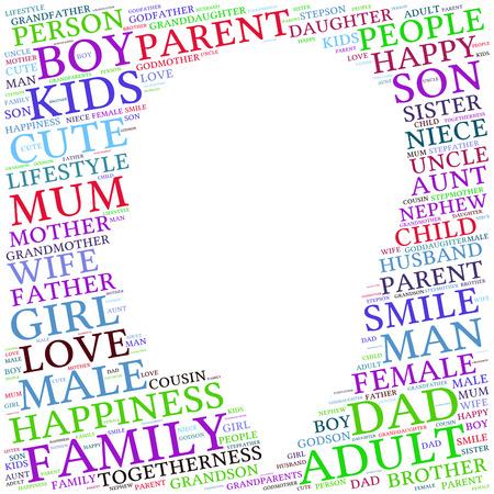 Famille Les graphiques info-texte et le concept d'arrangement (mot de nuage)