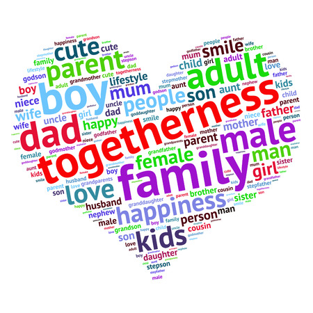 cousin: Family info-text graphics and arrangement concept (word cloud)