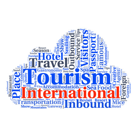 outbound: conceptual travel or tourism text word cloud tagcloud