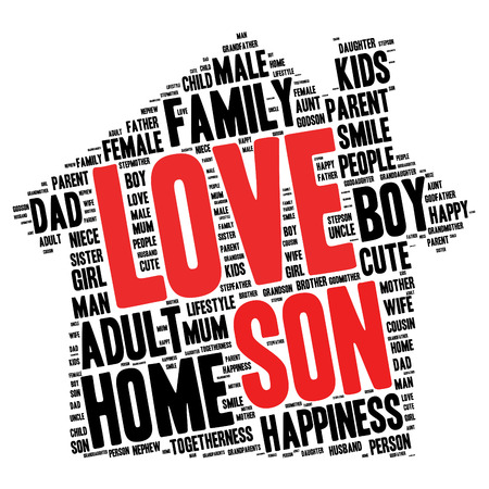 godmother: Family info-text graphics and arrangement concept (word cloud)