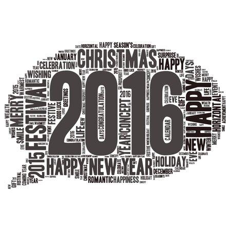 warmest: Happy New Year 2016. Cloud of words