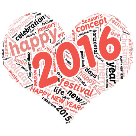 warmest: Happy New Year 2016. Cloud of words