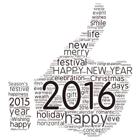 celebrate life: Happy New Year 2016. Cloud of words