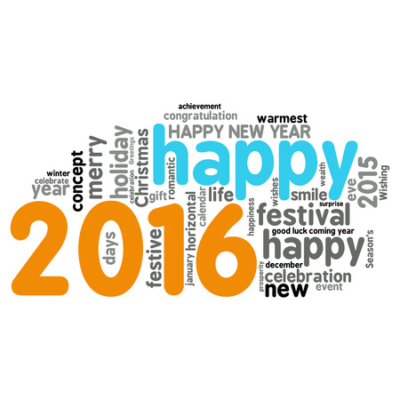 season s greeting: Happy New Year 2016. Cloud of words