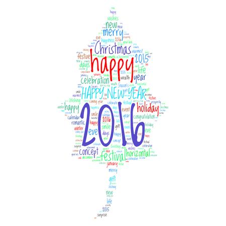 season s greeting: Happy New Year 2016. Cloud of words