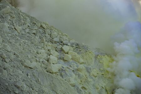 sulfur: Sulfur fumes from the crater of Kawah Ijen Volcano, Indonesia