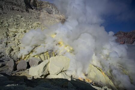Sulfur fumes from the crater of Kawah Ijen Volcano, Indonesia