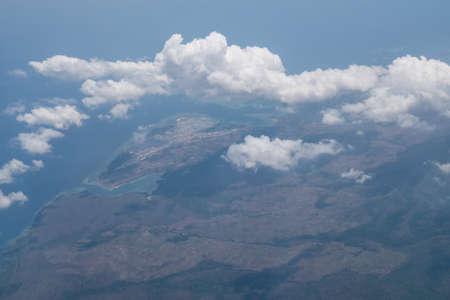 veiw: Bali island in tropical sea, veiw from airplane sight