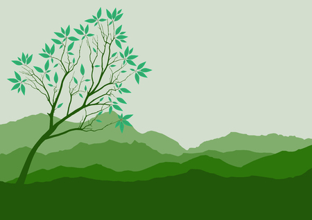 Silhouette of forest and mountain with brown background Illustration