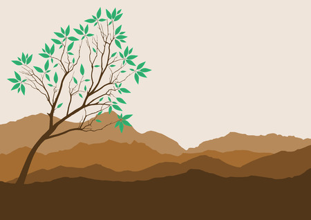 ridges: Silhouette of forest and mountain with brown background Illustration