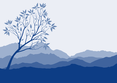 rock layer: Silhouette of forest and mountain with brown background Illustration