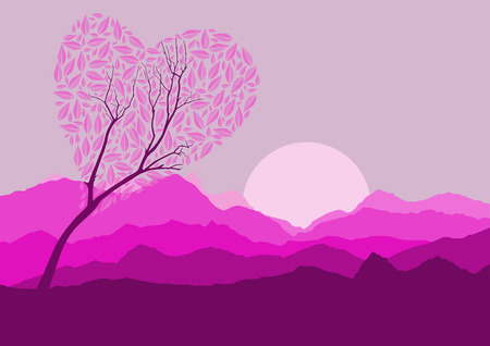 Silhouette of forest and mountain with pink background