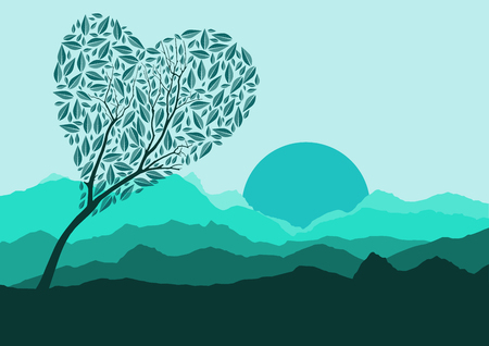 rockies: Silhouette of forest and mountain with green background