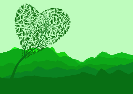 Silhouette of forest and mountain with green background