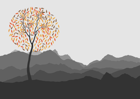 ridges: Silhouette of forest and mountain with gray background Illustration