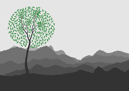 rockies: Silhouette of forest and mountain with gray background Illustration