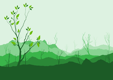 ridge: Silhouette of forest and mountain with green background