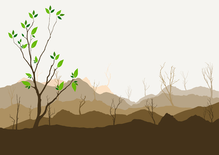 rockies: Silhouette of forest and mountain with brown background Illustration