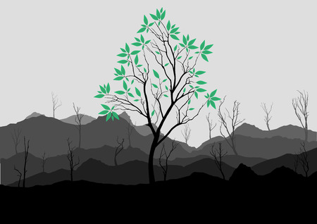 rock layer: Silhouette of forest and mountain with gray background Illustration