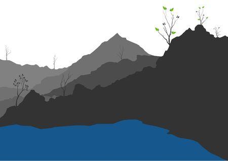 illustration with hill landscape
