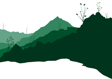 plain postcards: illustration with hill landscape