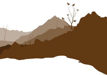 illustration with hill landscape Vektorové ilustrace