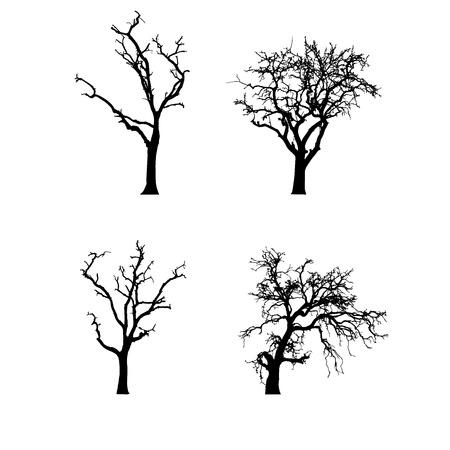 Vektor schwarze Silhouette eines kahlen Baum