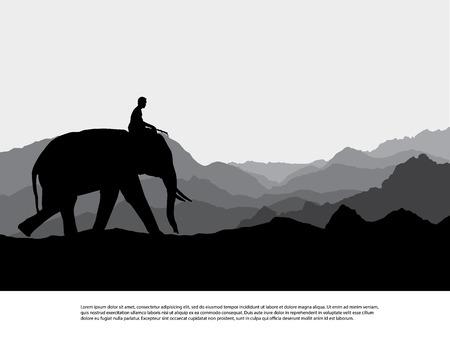 Elephant   silhouettes in wild nature mountain landscape background illustration vector Stock Illustration - 61592933