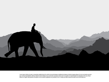 Elephant   silhouettes in wild nature mountain landscape background illustration vector Stock Photo
