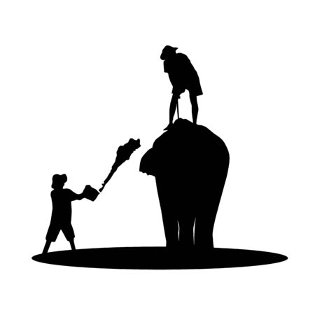 mahout: elephant and mahout young boy on white background