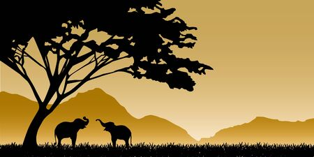 serengeti: Silhouettes of elephants on mountain backgrounds