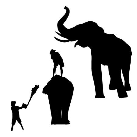 traditionally: Elephant Silhouettes Stock Photo