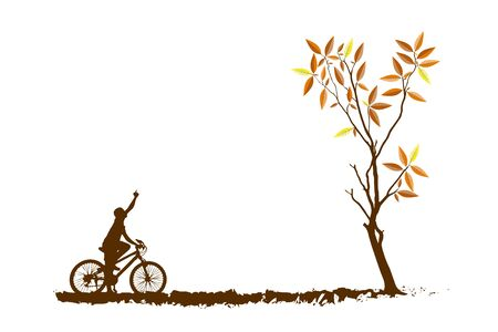 tree an bicycle over background vector illustration Stock Photo