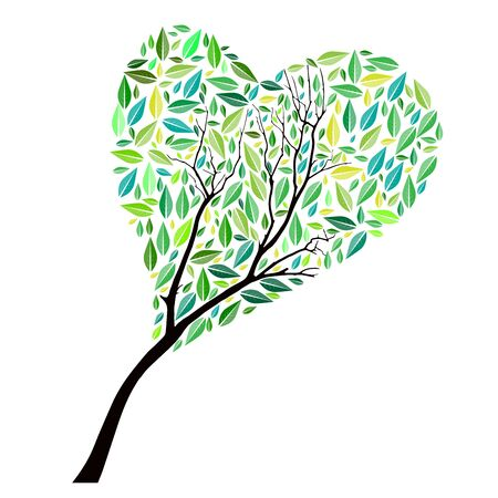 heartshaped: Abstract vector heart-shaped tree on white background