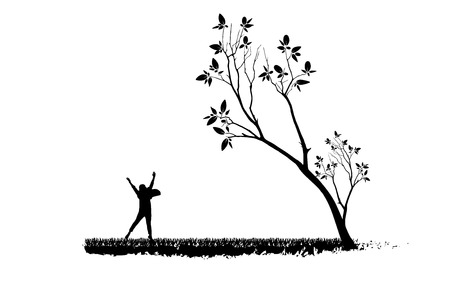 Drawing children and tree silhouettes