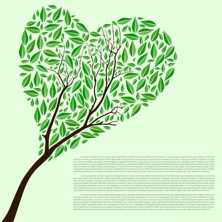 heartshaped: Abstract vector heart shaped green tree