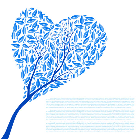 Heart Shaped Tree Silhouette Vector Illustration