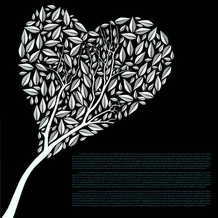 shaped: Heart Shaped Tree Silhouette Vector Illustration