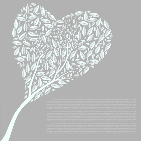 heart shaped leaves: Heart Shaped Tree Silhouette Vector Illustration