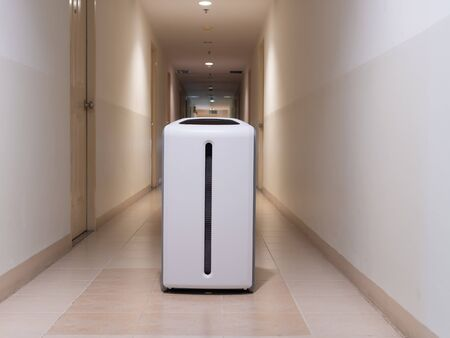SMART Air purifier in a bedroom, filter for clean room 免版税图像